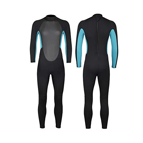 Wetsuits Women and Men 3mm Neoprene Full Body Rash Guard One Piece Long Sleeve UV Protection Scuba Diving Thermal Swimsuit with Back Zip for Swimming Water Aerobics Diving Surfing Kayaking (blue, M)