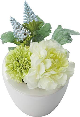ポピー(Popy) 造花 仏壇用ミニラナンポット ホワイト 全長13cm・幅9.5cm FP-0845W