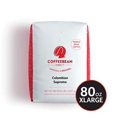 Coffee Bean Direct Colombian Supremo, Whole Bean Coffee, 5-Pound Bag