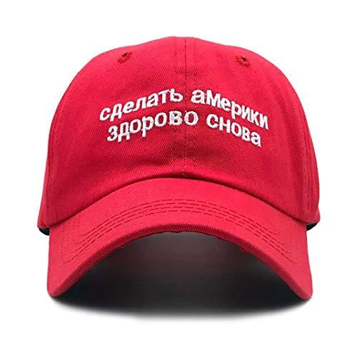 Make America Great Again Cap Russian Embroidery MAGA Donald Trump Adjustable Baseball Hat for Men Women Red