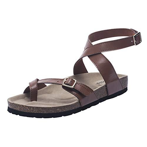 FITORY Damen Sandalen Flach Fußbett Pantoletten Elegant Zehentrenner Bequeme Kork Flip Flops Sommerschuhe Gr.42 Brown