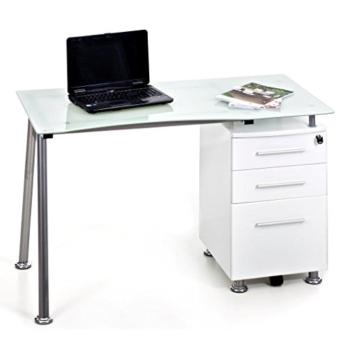 Scrivania Porta Computer PC in Acciaio e Vetro con Cassettiera My Office Record Bianco