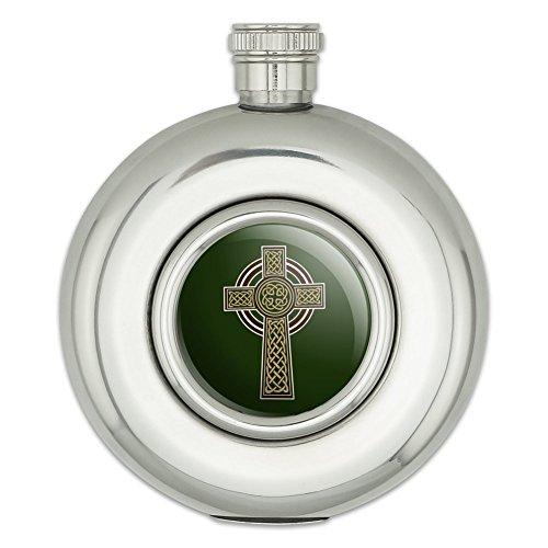 Celtic Christian Cross Irish Ireland Round Stainless Steel 5oz Hip Drink Flask