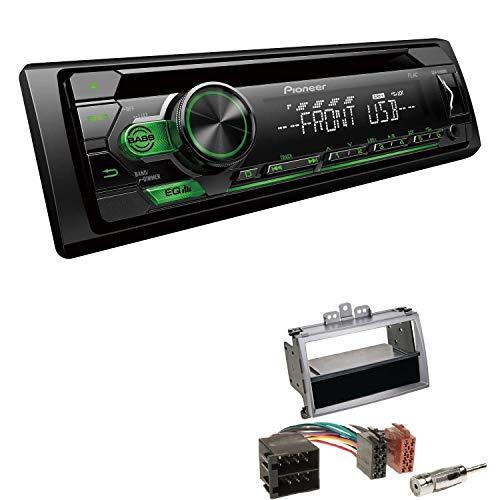 EHO Autoradio mit Einbauset passend für Hyundai i20 Silber inkl Pioneer DEH-S110UBG 1 DIN grüne Tastenbeleuchtung