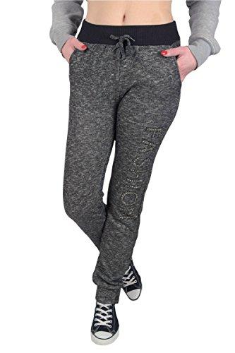 N.N. Damen Sport- und Freizeit Jogginghose Trainingshose und Sweatpants Schwarz-Grau Meliert, SchwGr, XL