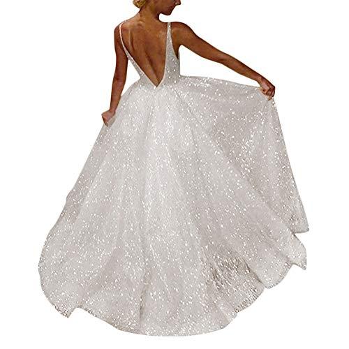 Tomwell Damen Elegant Langes Abendkleid Festliche Kleider Brautjungfer Hochzeit Cocktailkleid Chiffon Faltenrock Kleid A DE 34