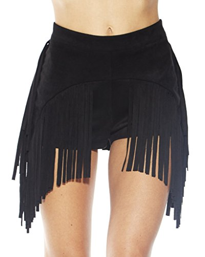 iHeartRaves Black Festival Fringe Cowgirl Suede High Waisted Booty Shorts (Medium)