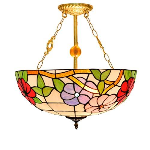 Araña de cristal de estilo tiffany 20 pulgadas Europea Tiffany luz pendiente del color del vidrio del color gloria de mañana creativo restaurante Lámpara pendiente Dormitorio