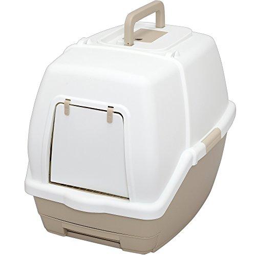 アイリスオーヤマ システムトイレ用 1週間取り替えいらずネコトイレ フード付 (抗菌 スコップ付き) ホワイト/ベージュ 大型