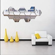 12PCS Mirror Wall Stickers, Hexagon Mirror Removable Art DIY Home Decorative Hexagonal Acrylic Mirror Sheet Plastic Mirror...