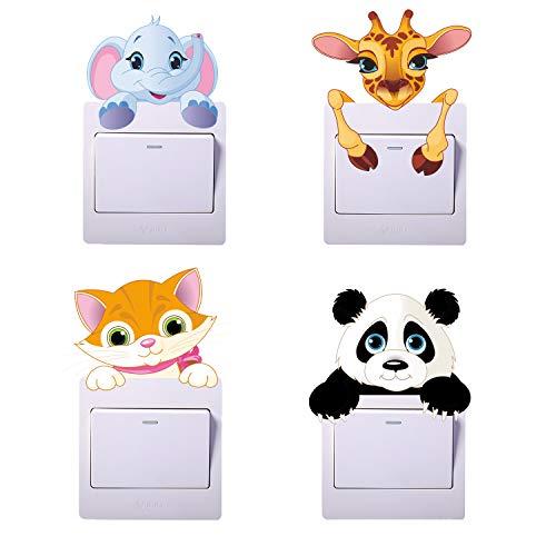 Paquete de 4 pegatinas para interruptores de luz de dibujos animados de animales, pegatinas de panda, pegatinas de jirafas, pegatinas de gatos, pegatinas de elefantes para interruptores de luz.