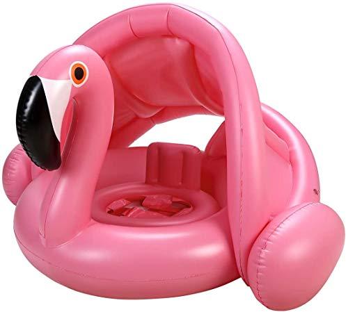 BEUTEY Infantil Floatias para piscina para crianças inflável piscina flutuante Crianças Anéis de natação cedo Diversão água Borracha seguro Assento Idade 1 – 3 anos (Flamingo com cobertura)