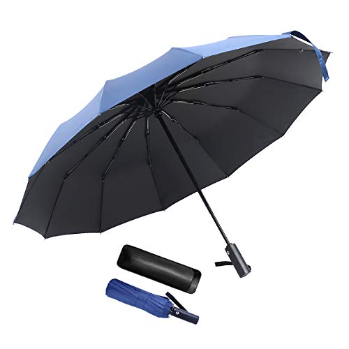 JEVDES Parapluie Pliant Coupe-Vent à Ouverture Automatique Parapluie Automatique de Voyage à 12 Ribs avec Sac pour Parapluie (Bleu)