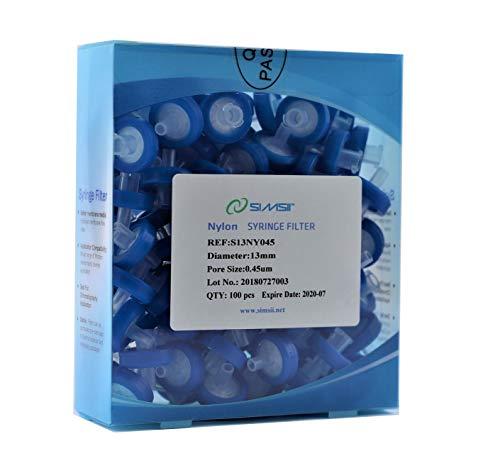 Simsii Syringe Filter, Nylon Membrane Lab Disc, Diameter 13 mm, Micron Pore Size 0.45 um, Pack of 100