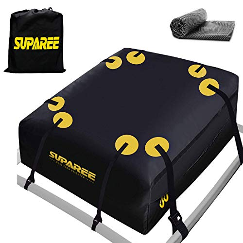SUPAREE 19 Cubic ft Car Roof Bag Top Carrier Cargo Storage Rooftop Luggage Waterproof Soft Box Luggage Outdoor Water Resistant for Car with Racks,Travel Touring,Cars,Vans, Suvs