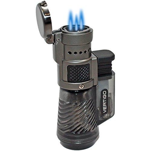 Vertigo by Lotus Cyclone Triple Torch Cigar Lighter Charcoal 3 Pack