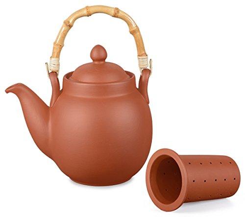 Aricola Ton Teekanne Tenno 1,1 Liter mit Tonsieb und Bambushenkel. Handgefertigt, Original