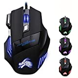 WESAPPINC Professional LED Optical 5500 DPI 7 Button USB Wired Gaming Mouse Mice for Gamer, PC, MAC, Laptop, Computer-Black