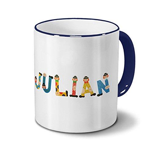 printplanet Tasse mit Namen Julian - Motiv Holzbuchstaben - Namenstasse, Kaffeebecher, Mug, Becher, Kaffeetasse - Farbe Blau