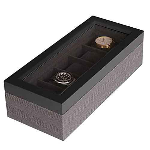 CASE ELEGANCE Zweifarbige Uhrenbox aus Massiv Holz im Fishgrätenmuster - mit Glas-Vitrine - Aufbewahrung für Uhren