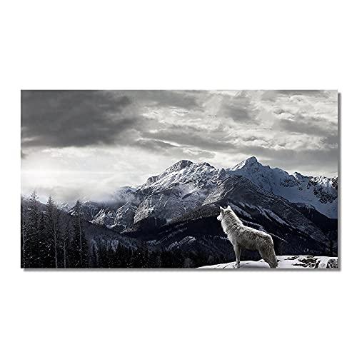 GYJDD Loup Sauvage sur La Montagne De Neige Peintures sur...