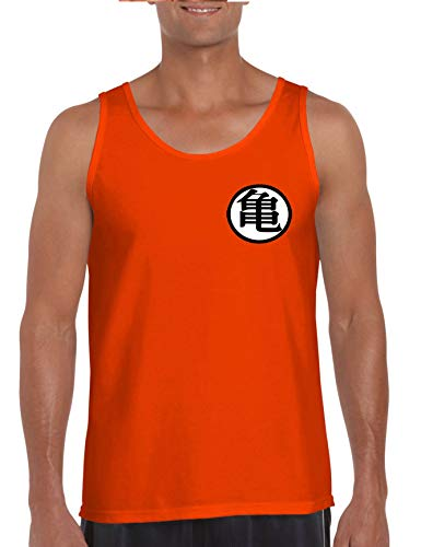ALLNTRENDS Men's Tank Top Goku's Training Symbol Cool Gym Workout Top (L, Orange)