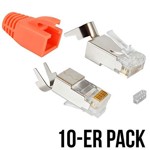 VESVITO 10er Pack RJ45 Crimpstecker für CAT 7A CAT 7 CAT 6A Kabel, bis 10 Gigabit Ethernet, Netzwerkstecker Steckverbinder mit Knickschutz in Orange für Verlegekabel Netzwerk LAN Patchkabel