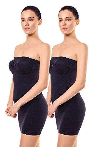 +MD Donna Senza Spalline Completo Modellante Senza Cucitura Liscio Tubino sotto Vestitini Black2S