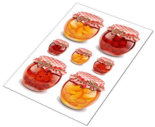 AWS 7 Stickers Konfektgläser für Fliesen, Küche, wasserdicht, in 2 Formen, Aufkleber aus Vinyl Foglio medio A4