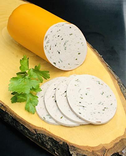 hausgemachte Gelbwurst mit Petersilie im Kunstdarm, aufgeschnitten (22,50 € / kg.) (300gr)