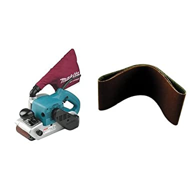Makita 9403 4  x 24  Belt Sander with Cloth Dust Bag and 4-Inch x 24-Inch Abrasive Sanding Belt, 100 Grit (10/Pk)