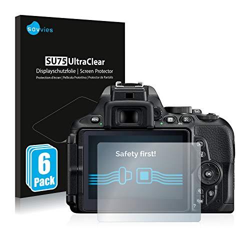 savvies Protector Pantalla Compatible con Nikon D5600 (6 Unidades) Pelicula Ultra Transparente