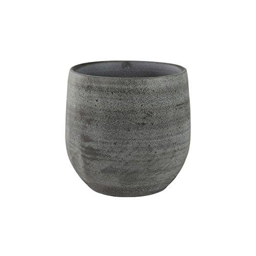 TS Indoor Keramik Blumentopf Esra Ø 18 cm, Höhe 16 cm, handgefertigt, grau Übertopf für Zimmerpflanzen