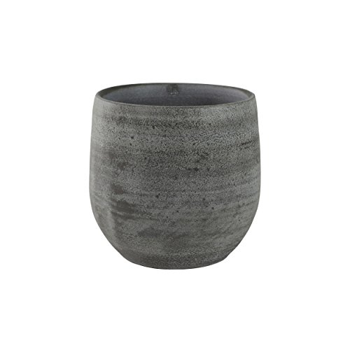 TS Indoor Esra Pot de fleurs en céramique fait à la main Gris Ø 18 cm Hauteur 16 cm