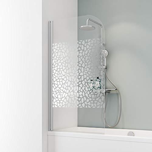 Schulte D1650 Duschwand Komfort, 80 x 140 cm, 5 mm Sicherheitsglas Terrazzo chrom, alu natur, Duschabtrennung für Badewanne