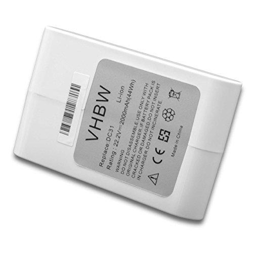 vhbw Akku kompatibel mit Dyson DC43, DC43h Animal Pro, DC45, DC45 Animal Pro, DC56, DC57 Staubsauger (Li-Ion 2000mAh 22.2V) weiß