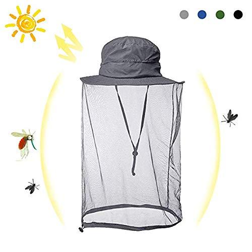 HOMEYA 帽子 ネット 虫除け 蚊よけ 防虫ネット メッシュ カバー 携帯 頭部 蚊帳 紫外線対策 農作業 釣り ハイキング アウトドア (グレー)