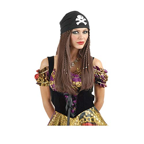 Pirate Hat Lang Bruin Haar Viscera Plaite Fancy Dress Wig Piraat Halloween kostuums Carnival Masquerade Party Decoration Props