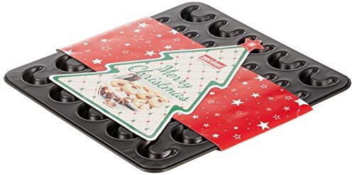Zenker 30er-Vanillekipferl Backblech klein Sparkling Christmas, Ofenform mit Teflon Antihaftbeschichtung für kinderleichtes Backen, hochwertige Form für selbstgemachte Kipferl (Farbe: Schwarz)
