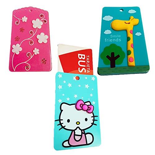 Llavero – Tarjeta – Bus – crédito – Club – Pack 3 Unidades. Incluye Flores, Jirafa, Hello Kitty.