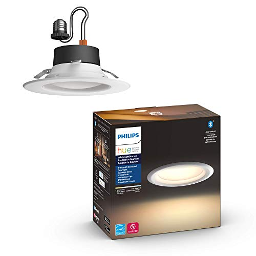 Philips Hue 802892 White Ambiance LED Smart Retrofit 4-inch Recessed Downlight, Bluetooth & Zigbee compatible, Warm-to-cool white light (Hue Hub Optional)