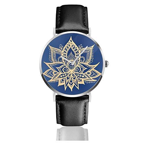 Delft Blue Mandalas Lederarmband Armbanduhr Casual Classic Edelstahl Quarz Business Uhr