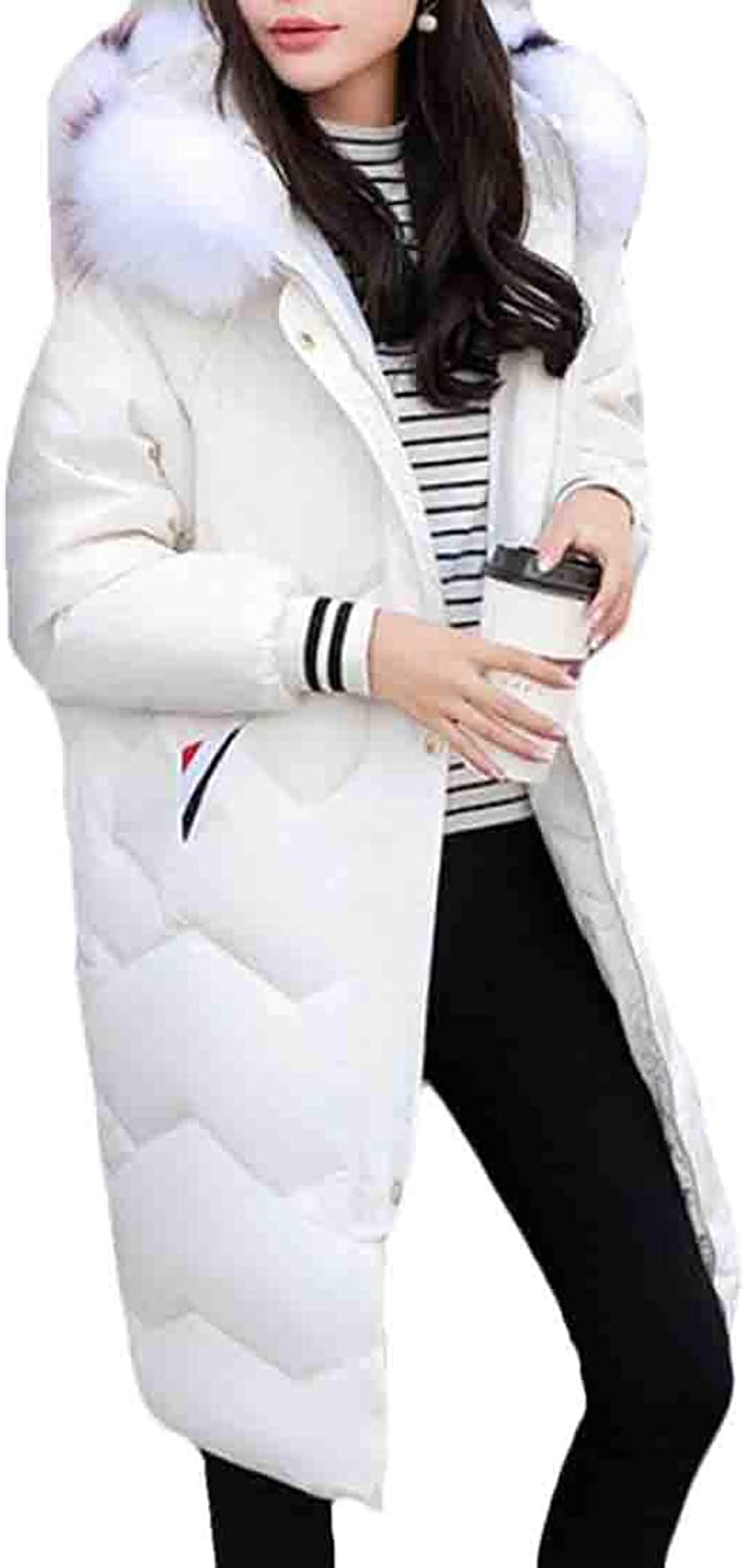 FRPE Women with FauxFur Trim Midi Hooded Thickened Parka Jacket