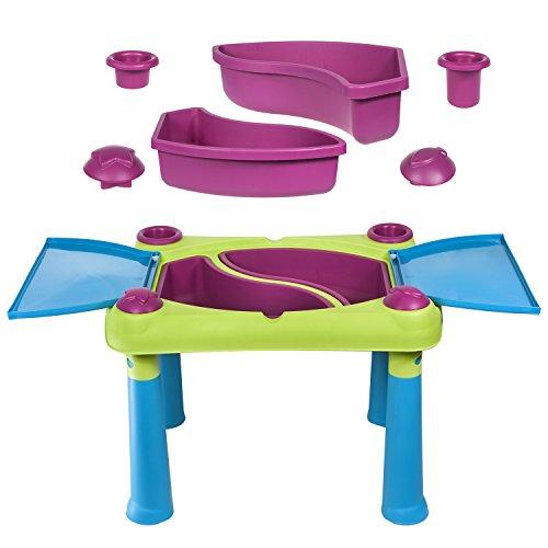 Keter Fun Table Sandkastentisch Aufklappbarer Kindertisch Spieltisch 79 x 56 x 50 cm (Grün / violett)