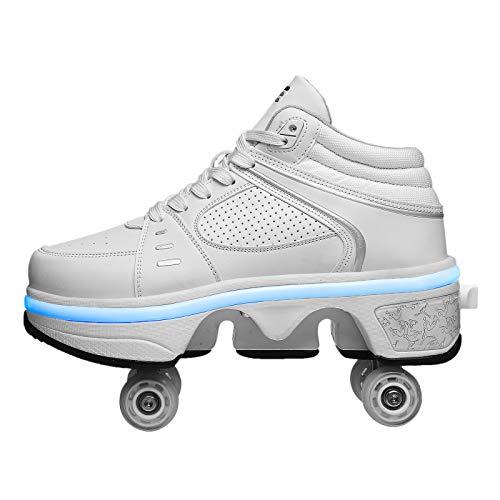 Rollschuhe Mädchen 4 Roller Skates Damen Skate Roller ,2-in-1- Skate Schuhe Sportschuhe Multifunktionale Deformation Schuhe Für Mädchen Unsichtbare Schuhe Fersenroller,EUR36