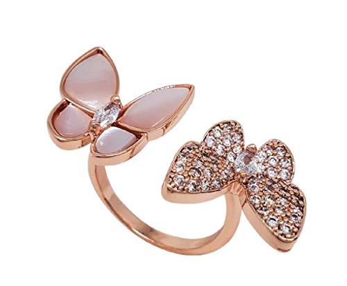 ARMAC Anillos abiertos de mariposa chapados en oro para mujeres y niñas, anillo ajustable de circonita cúbica anillo de compromiso