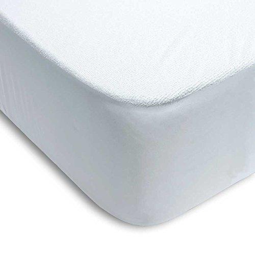 Protector colchón cama 150 x 200 cm + 25cm IMPERMEABLE* ABSORBENTE* LAVABLE* ANTI-ACAROS* AJUSTABLE* GOMA EN TODO SU PERÍMETRO* RIZO Y PVC (pack TOBILLEROS RegalitosTV) (150_x_200_cm)