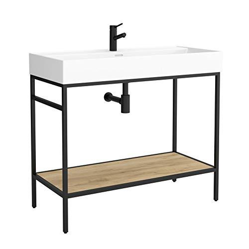 Vinci Waschtisch auf Metallkonstruktion schwarz mit Ablage Industriedesign 100cm
