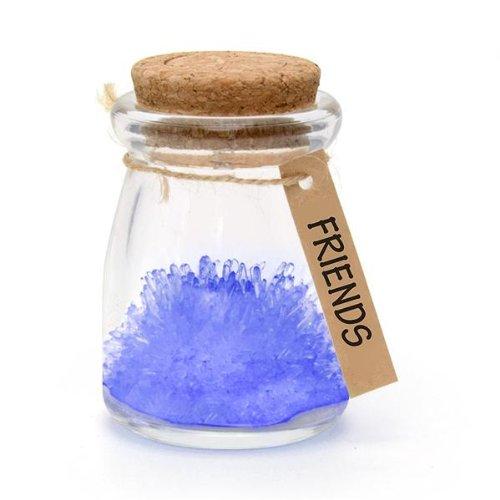 Gift House International Limited GH-1007 - Flor de los Deseos en Bote de Cristal, Incluye Tapa de Corcho con LED, Color Azul