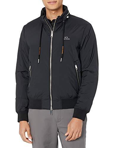 Armani Exchange Mens A X Zip Up Blouson Jacket, Black/Oriole, M